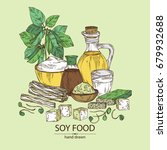 background with different soy...   Shutterstock .eps vector #679932688