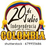 round button with colombian... | Shutterstock .eps vector #679955686