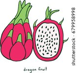 dragon fruit coloring page.... | Shutterstock . vector #679958998