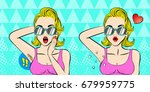 pop of cartoon woman do... | Shutterstock .eps vector #679959775