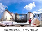 double exposure engineers... | Shutterstock . vector #679978162
