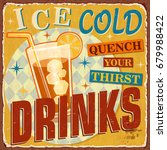 vintage ice cold drinks metal...   Shutterstock .eps vector #679988422