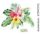 watercolor floral flower... | Shutterstock . vector #679997572