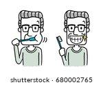 senior men brushing teeth  | Shutterstock .eps vector #680002765