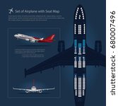 set of airplane with seat map... | Shutterstock .eps vector #680007496
