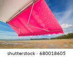 view from shade below red white ... | Shutterstock . vector #680018605