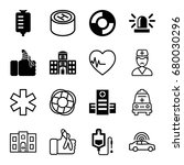 emergency icons set. set of 16... | Shutterstock .eps vector #680030296