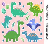 cute vector set with dinosaurs. ... | Shutterstock .eps vector #680033902