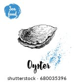 hand drawn closed oyster shell. ... | Shutterstock .eps vector #680035396