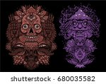 vector illustration set with... | Shutterstock .eps vector #680035582