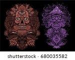 vector illustration set with... | Shutterstock .eps vector #680035582