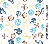 seamless pattern with hand...   Shutterstock .eps vector #680036806