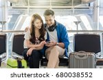 happiness asian couple traveler ... | Shutterstock . vector #680038552