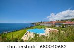 Small photo of ANGRA DO HEROISMO, AZORES, PORTUGAL - JUNE 23, 2017: Outdoor pool and buildings of Terceira Mar Hotel, which is located in Angra do Heroismo, on Azorean island of Terceira.