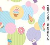seamless pattern of dessert and ... | Shutterstock .eps vector #680043865
