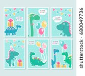 cute vector cards set with... | Shutterstock .eps vector #680049736