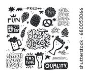 collection of beer related... | Shutterstock .eps vector #680053066