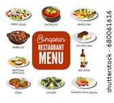 european restaurant menu with... | Shutterstock .eps vector #680061616