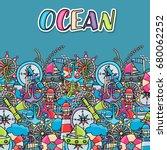 marine doodle elements  hand...   Shutterstock .eps vector #680062252