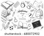 welcome back to school vector... | Shutterstock .eps vector #680072902
