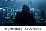 dangerous hooded hacker breaks... | Shutterstock . vector #680075008
