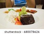 chocolate cake  with matcha ice ... | Shutterstock . vector #680078626