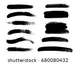 set of black paint  ink brush... | Shutterstock .eps vector #680080432