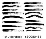 set of black paint  ink brush... | Shutterstock .eps vector #680080456