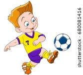 Cartoon Boy Playing Football ...