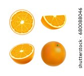 set of isolated colored orange  ... | Shutterstock .eps vector #680088046