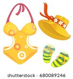 swimsuit  hat  slates vector | Shutterstock .eps vector #680089246