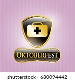 gold badge or emblem with... | Shutterstock .eps vector #680094442