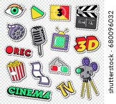 cinema and movie doodle. film... | Shutterstock .eps vector #680096032