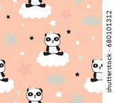 seamless pattern with panda... | Shutterstock .eps vector #680101312