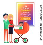 smiling parents with small son... | Shutterstock .eps vector #680103106