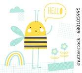 hello bee  doodle vector... | Shutterstock .eps vector #680105995