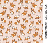Stock vector cartoon corgis pattern 680107465