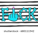 bones and vulgar gesture ... | Shutterstock .eps vector #680111542