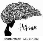 beautiful woman with long  wavy ... | Shutterstock .eps vector #680114302