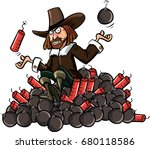 cartoon of guy fawkes sitting... | Shutterstock .eps vector #680118586