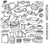 hand drawn doodle pets stuff... | Shutterstock . vector #680122936