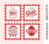 retro grill badges and labels... | Shutterstock .eps vector #680124976