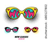 comic sunglasses with... | Shutterstock .eps vector #680127802