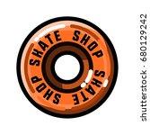 color vintage skate shop emblem | Shutterstock .eps vector #680129242