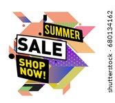 summer sale geometric style web ... | Shutterstock .eps vector #680134162