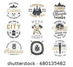 vintage hand drawn travel badge ... | Shutterstock .eps vector #680135482