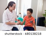 young female therapist... | Shutterstock . vector #680138218
