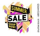 summer sale geometric style web ... | Shutterstock .eps vector #680144905