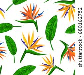 seamless pattern with tropical... | Shutterstock .eps vector #680162752