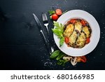 baked eggplant with parmesan... | Shutterstock . vector #680166985